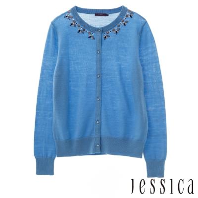 JESSICA-氣質綴珠花邊針織外套(藍)