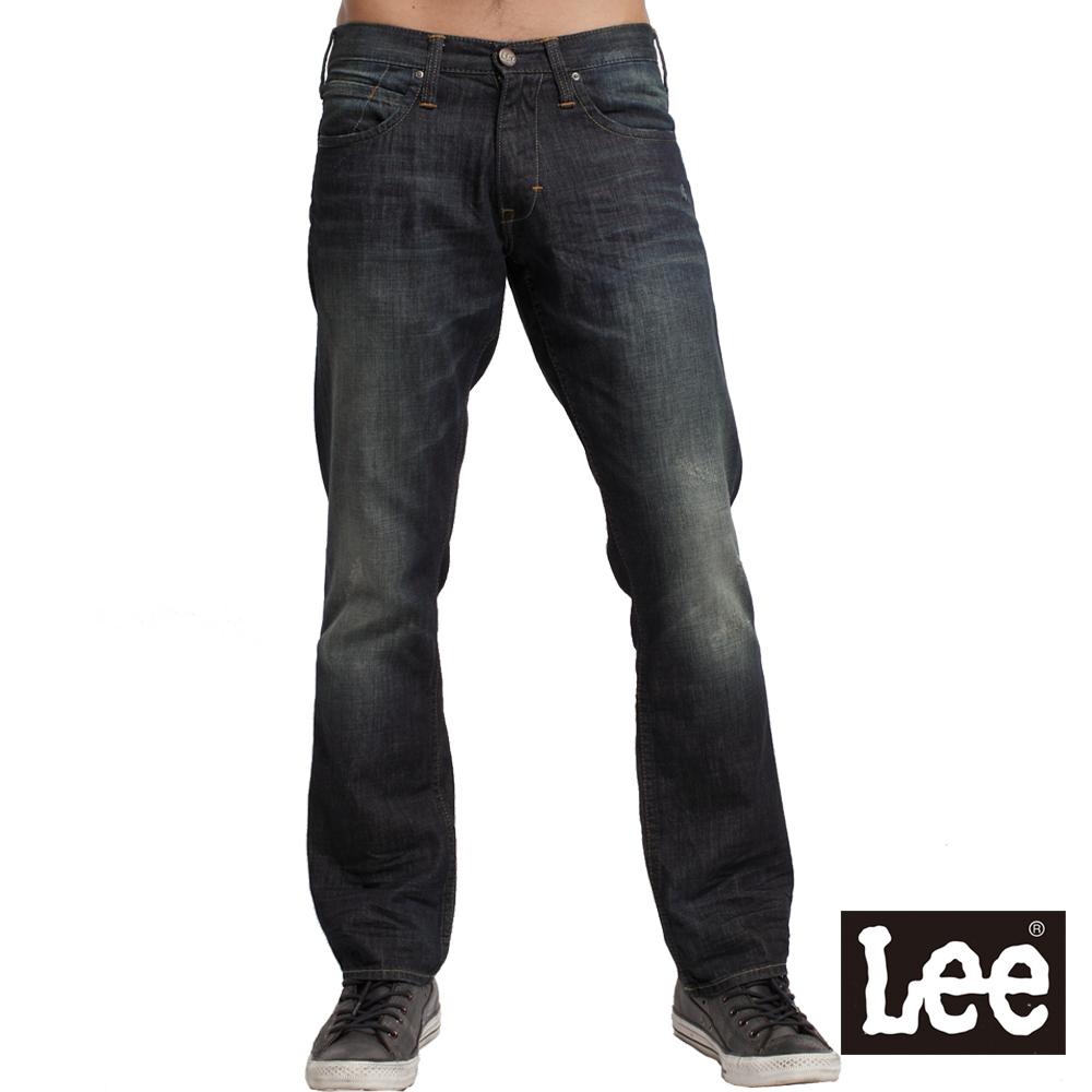 【Lee】Knox 728 低腰標準直筒牛仔褲-男款(中古深藍)