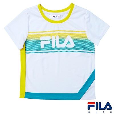 FILA KIDS 女童吸濕排汗上衣-白5TES-4410-WT