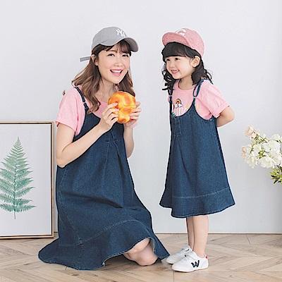 親子系列~高含棉傘擺丹寧吊帶裙-OB大尺碼