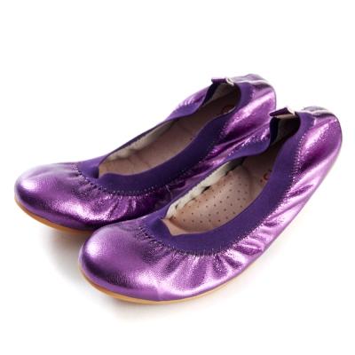 G.Ms.旅行女孩II-金屬羊皮鬆緊口可攜式軟Q娃娃鞋(附鞋袋)-深紫
