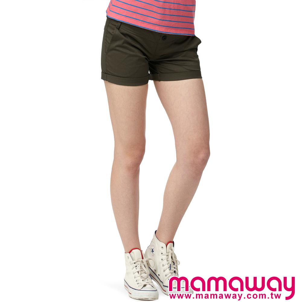 【Mamaway】孕婦斜紋短褲 (共三色)