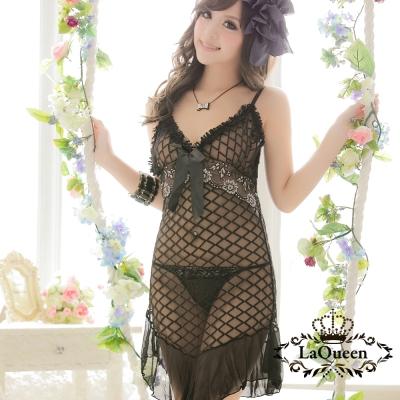情趣睡衣   狂野透膚格紋連身情趣睡衣-黑La Queen