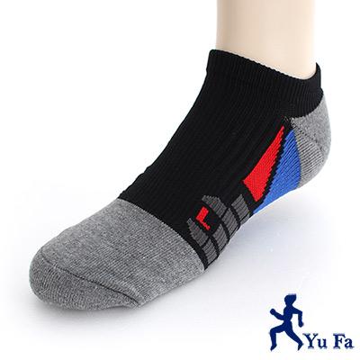 YuFa裕發 抗菌消臭環護足弓船型運動襪(黑灰)