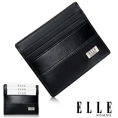福利品 ELLE 法式水波紋系列 簡易攜帶式卡夾- 黑色