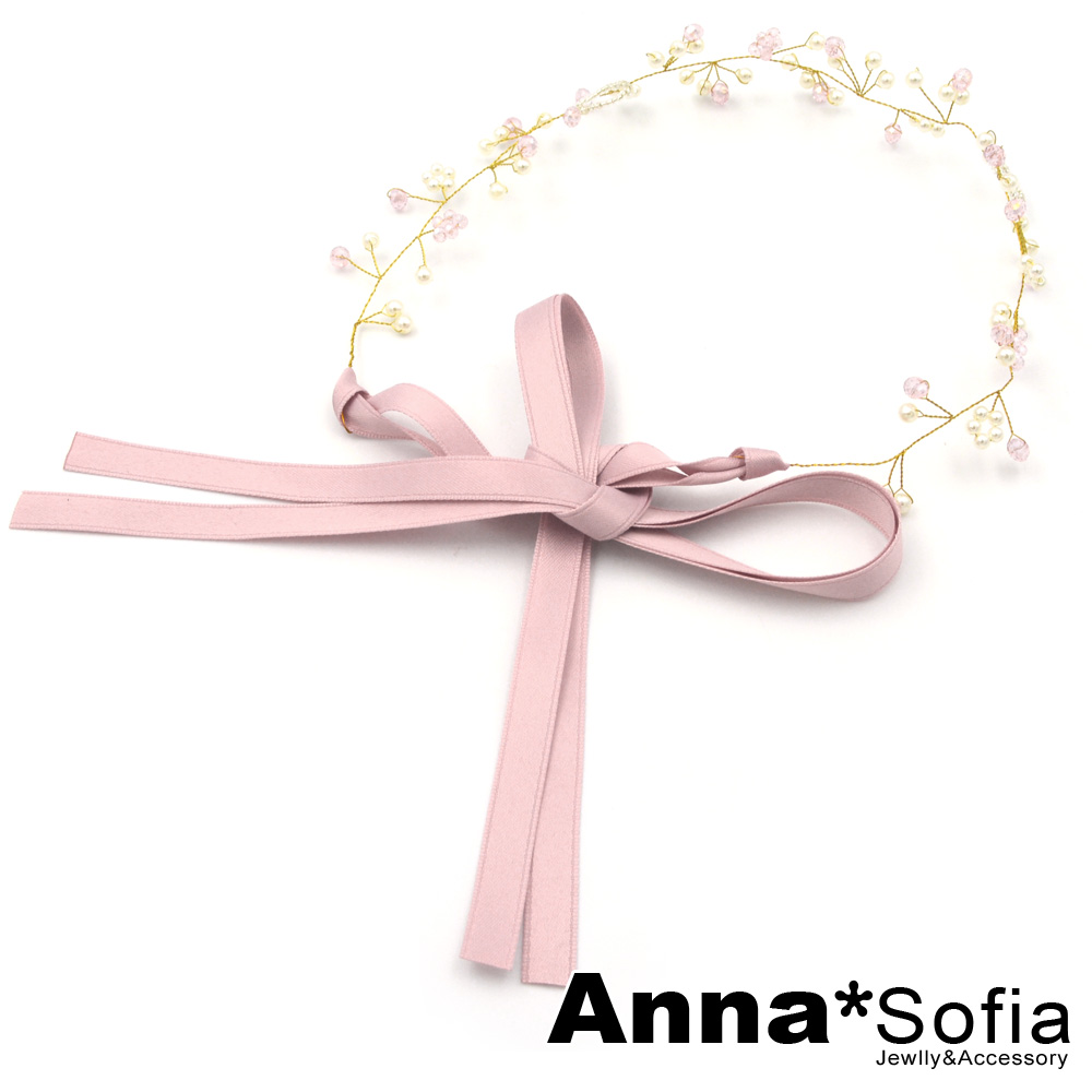 AnnaSofia 韓國進口正品幸福花紛 緞帶型純手工髮帶(浪漫粉)