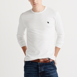 A&F 經典刺繡麋鹿長袖素色T恤-白色 AF Abercrombie