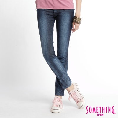 SOMETHING LADIVA都會線條刷色窄直筒褲-女款-拔洗藍