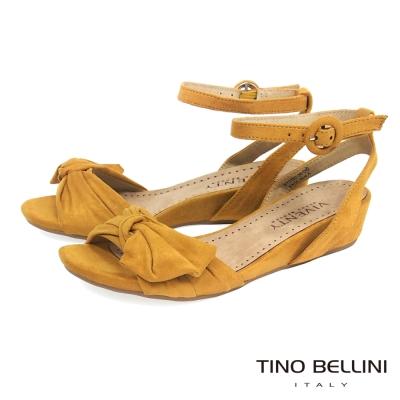 Tino Bellini 浪漫扭結繫踝4cm小坡跟涼鞋 _黃