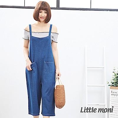 【麗嬰房】Little moni 針織牛仔吊帶連身褲(大人) 牛仔藍