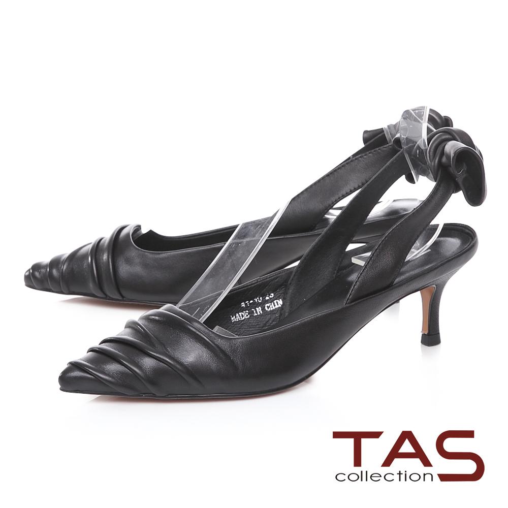 TAS後跟蝴蝶結抓皺尖頭跟鞋-時尚黑
