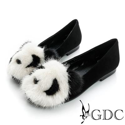 GDC百搭-熊貓造型絨布面真皮平底娃娃鞋-黑色