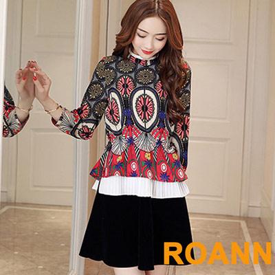 圖騰花紋收腰層次拼裙洋裝-紅色-ROANN