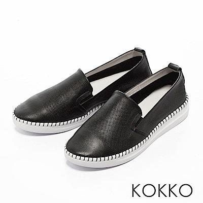 KOKKO -百變主流全真皮微厚底休閒鞋-不敗黑