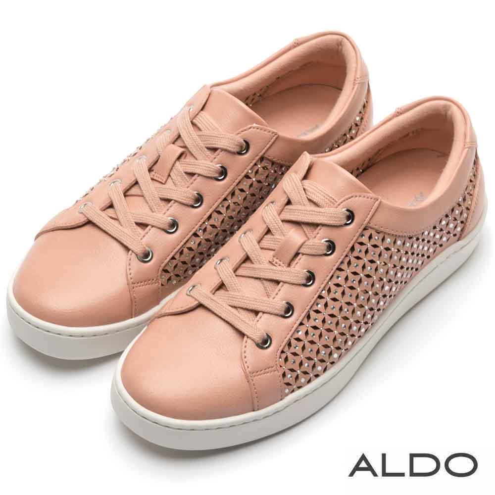 ALDO 原色鏤空幾何圖案鑲嵌璀璨水鑽休閒鞋~俏麗亮粉