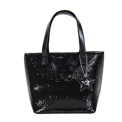 agnes b.星星吊飾亮片手提包-黑