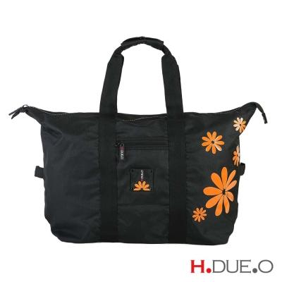 【義大利H.DUE.O】嬉皮花朵旅行折疊肩背袋 - 陽光橘