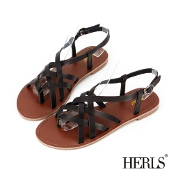 HERLS-清新小文青 編織羅馬涼鞋-黑色