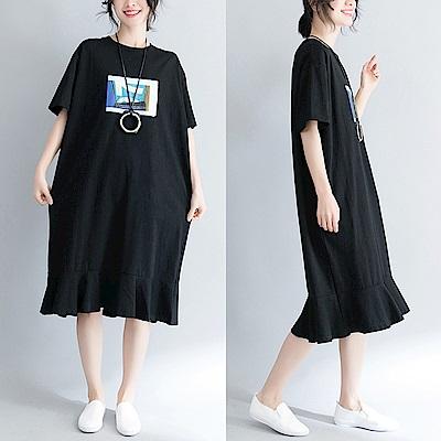 黑色簡約印花寬鬆長版T恤洋裝-F-Keer