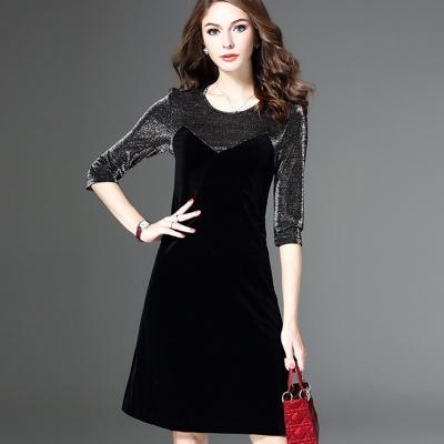 a la mode 艾拉摩兒 星光圓領五袖拼接M型短洋裝洋裝(S-2XL)