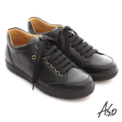 A.S.O 活力勁步系列 油感牛皮編織造型綁帶船休閒鞋 黑