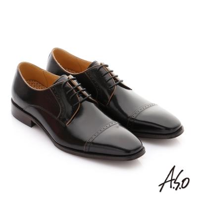 A.S.O 尊榮青紳 牛皮奈米綁帶紳士鞋 黑色