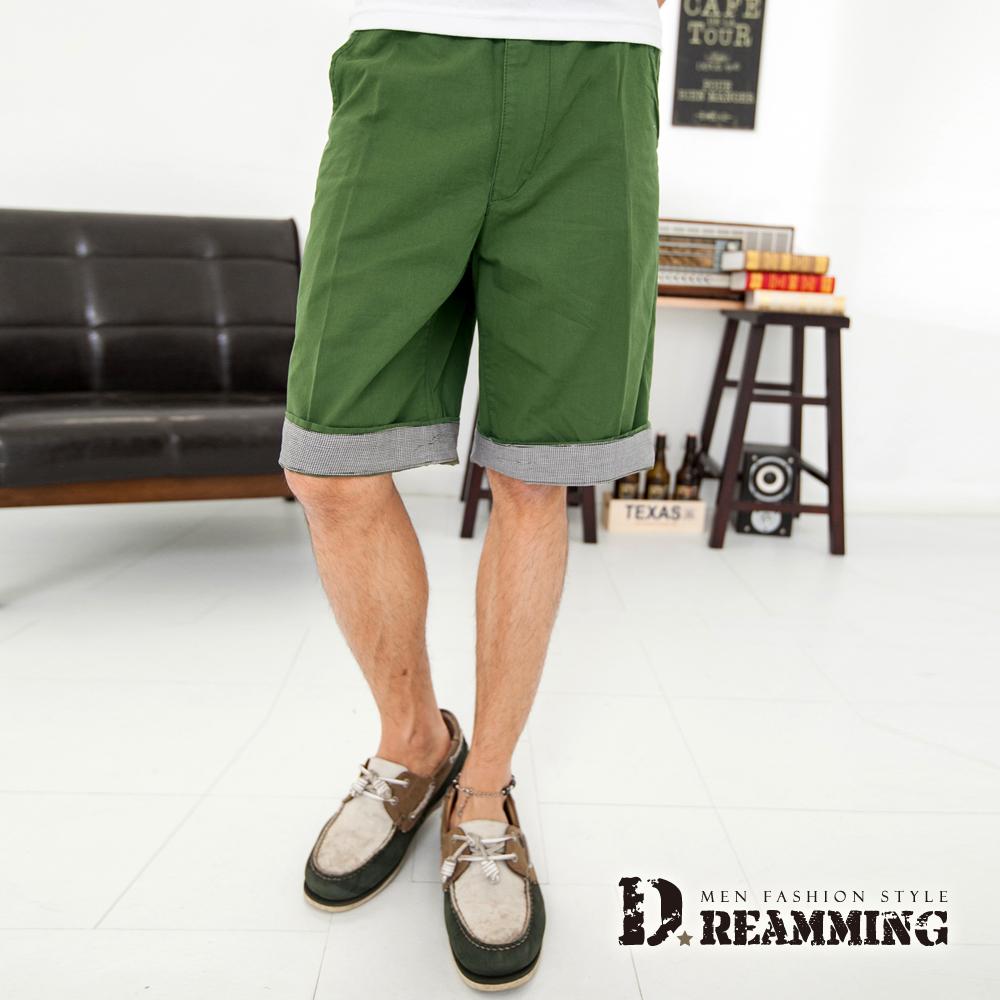 Dreamming 千鳥格紋反摺褲腳休閒短褲-共二色 (軍綠)