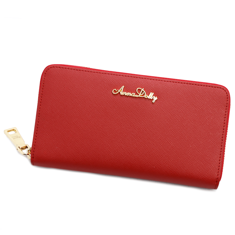 ANNA DOLLY 防刮牛皮拉鍊長夾 Leather系列 巴黎紅