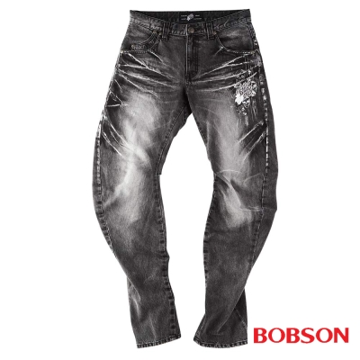 【BOBSON】 男款翻轉系列立體摺痕牛仔褲(黑87)
