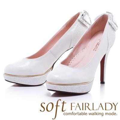 Fair Lady  Soft芯太軟 夜宴水鑽蝴蝶結高跟鞋 白
