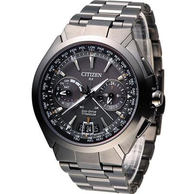 CITIZEN 鈦衛星對時光動能旗艦腕錶(CC1085-52E)-黑/48mm