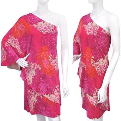 GUCCI 印花圖樣單肩水袖洋裝(桃紅色)
