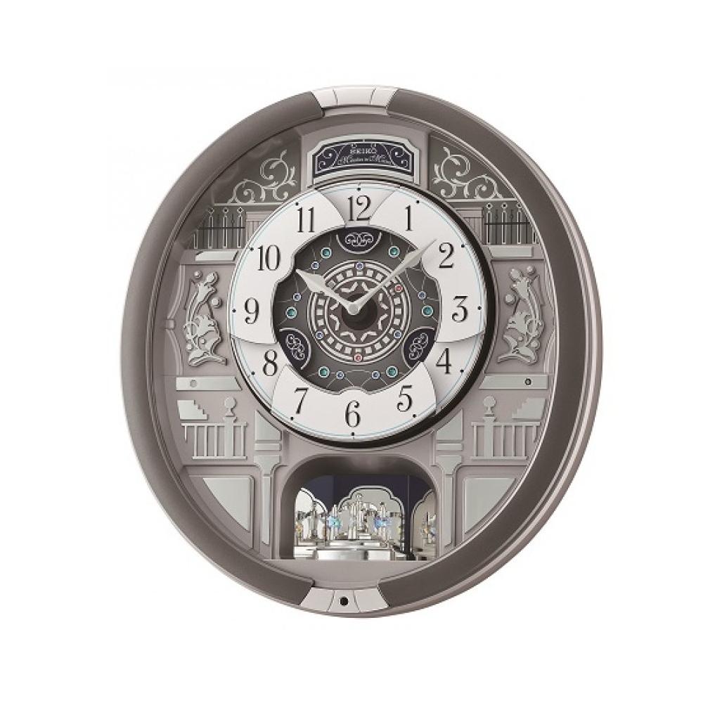 SEIKO 精工 繽紛演奏樂HI-FI音樂掛鐘(QXM366S)灰-44.3X40.5cm