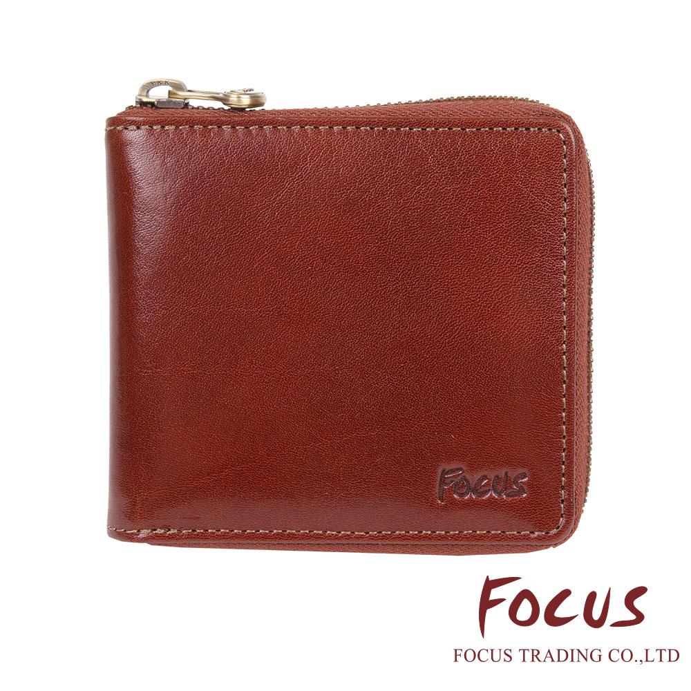FOCUS 原皮-文創手作系列 U型拉鍊方型零錢袋短夾