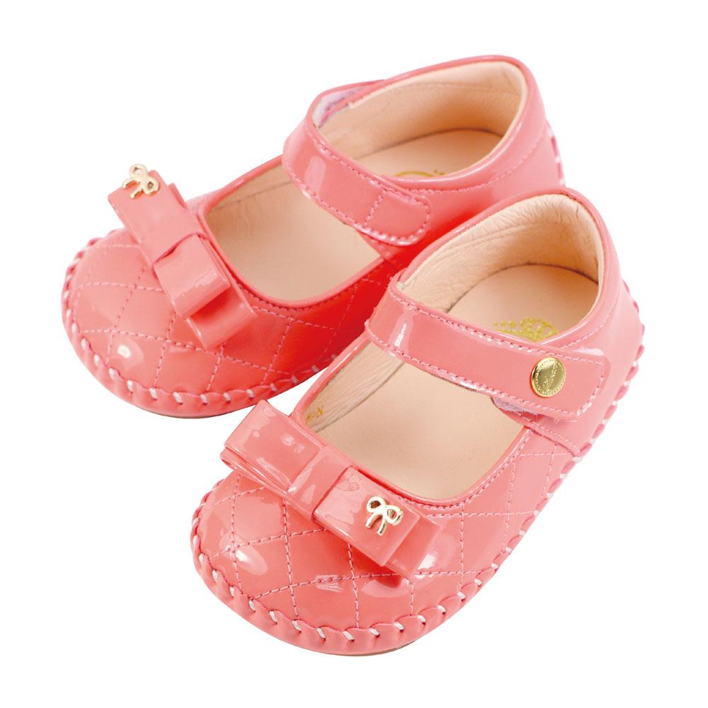Swan天鵝童鞋-小甜心鏡面漆皮學步鞋 1465-桔