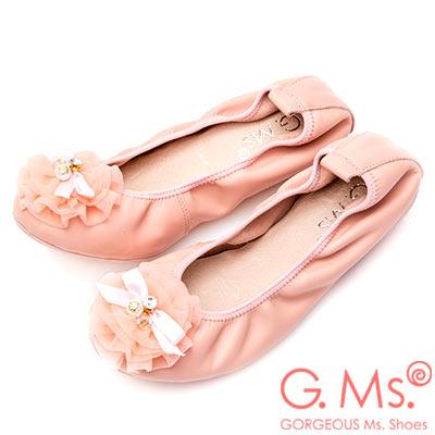 G.Ms. 手工水鑽蝴蝶結網紗牛皮彎折娃娃鞋-粉色