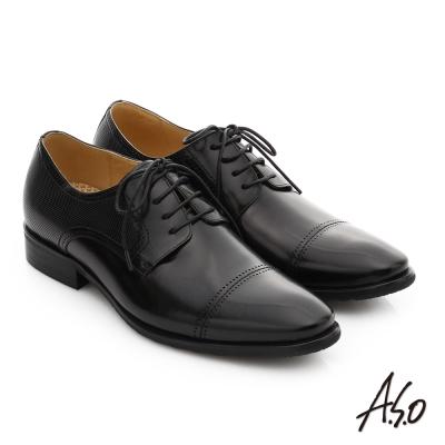 A.S.O 3D超動能 全真皮奈米綁帶紳士皮鞋 黑色