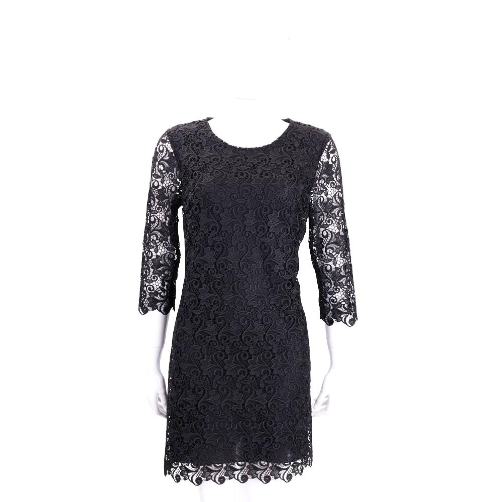 ERMANNO SCERVINO 黑色縷空織花七分袖蕾絲洋裝
