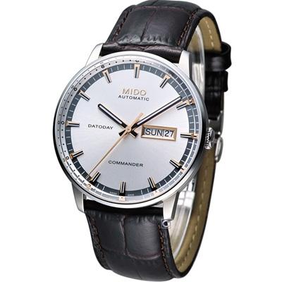 MIDO Commander 香榭系列機械腕錶-銀白/40mm