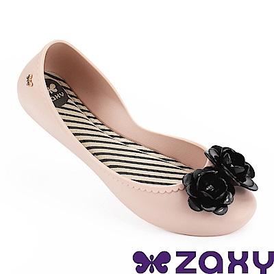 Zaxy 巴西 女 浪漫花季平底娃娃鞋-粉色/黑色