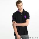 GIORDANO 男裝拿破崙刺繡彈性POLO衫-79 標誌黑