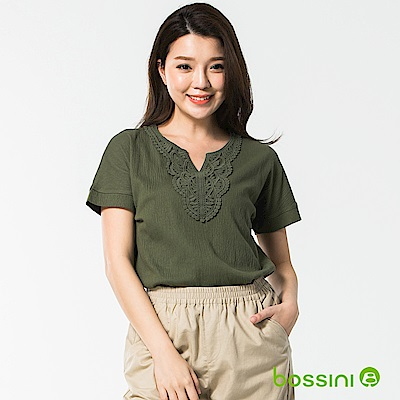 bossini女裝-圓領短袖造型上衣04橄欖灰