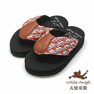 天使童鞋 涼夏編織夾腳親子拖鞋(中-大童)K 814 -黃