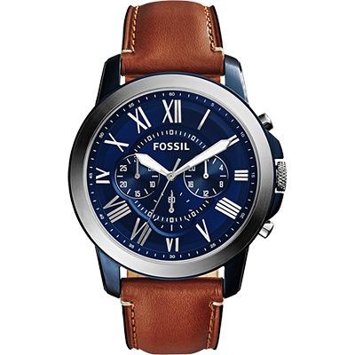 FOSSIL Grant 旗艦三眼計時腕錶-藍x棕/44mm