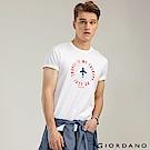 GIORDANO 男裝棉質熱愛旅行印花圓領T恤-01 標誌白