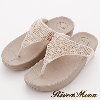 River&Moon拖鞋-單色晶鑽美體舒壓彈力夾腳涼鞋-卡其米