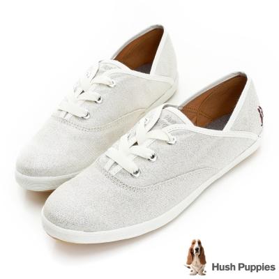 Hush Puppies 閃閃浪漫咖啡紗尖楦帆布鞋-閃耀銀