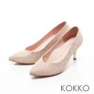 KOKKO-紅毯尖頭桃心口漸層水鑽高跟鞋-金