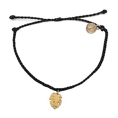 Pura Vida 美國手工 金色棕櫚葉 黑色臘線可調式防水手鍊 衝浪手繩