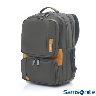 Samsonite新秀麗-Squad都市輕盈休閒筆電後背包I-14吋-橄欖綠-卡其